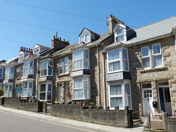 Terraced houses lining its street