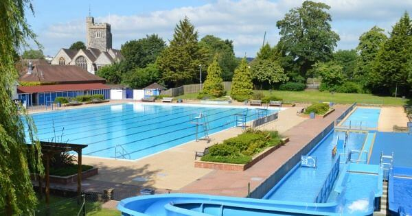 Olympic size pool and slides