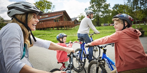 Family cycling at forest of dean