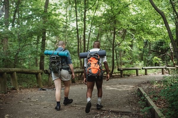 Couple walking the trail with trees everywhere